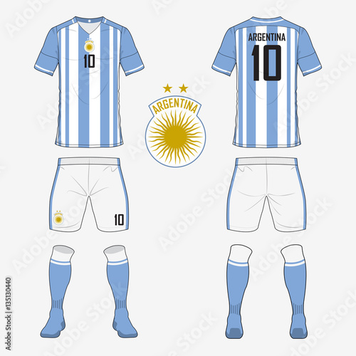 33df3570b Set of soccer jersey or football kit template for Argentina national football  team. Front and back view soccer uniform. Sport shirt mock up. Vector ...