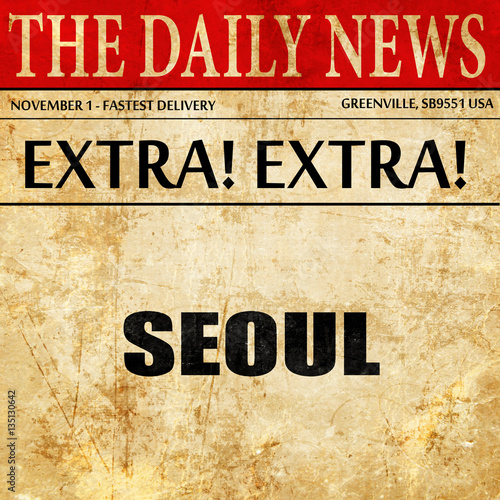 seoul, newspaper article text Poster