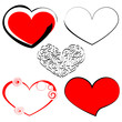Set the hearts of the holiday. Silhouettes of hearts in red and black colors, Valentine's Day.