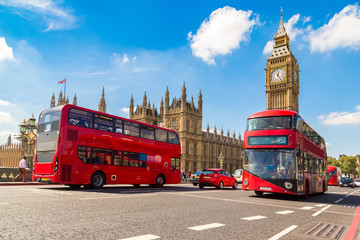 Fototapeta na wymiar Big Ben, Westminster Bridge, red bus in London