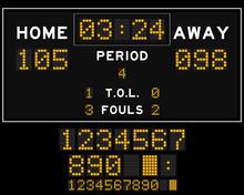 Basketball Score Board With Orange Square Led On Black Backgroun