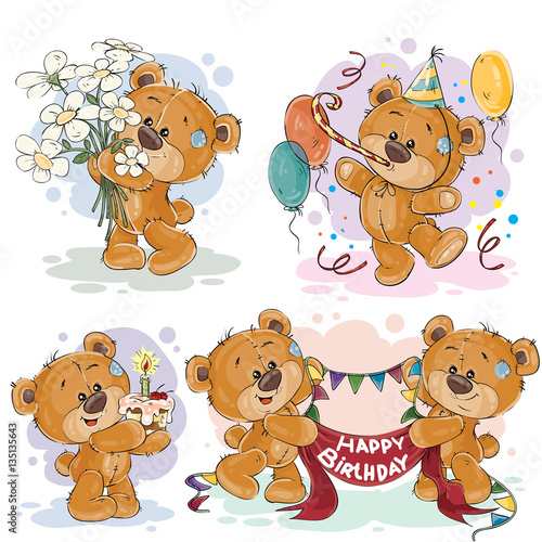 Clip art illustrations of teddy bear wishes you a happy birthday #135135643