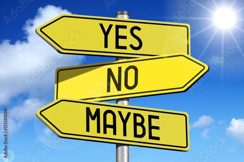 Valokuvatapetti Yes, no, maybe - yellow roadsign