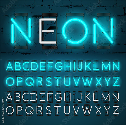 Neon Light Alphabet Vector Font. Glowing text effect. On and Off lamp. Neon tube letters on Brick wall background. isolated on blue background.