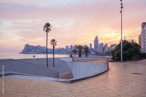 Benidorm Alicante playa de Poniente beach sunset