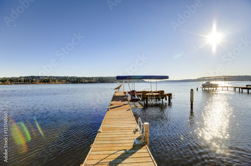 Fotografija Private dock with jet ski lifts and covered boat lift, Lake Washington