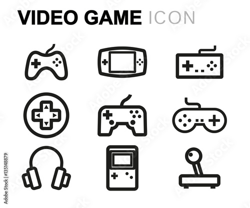 Vector line video game icons set Fototapete
