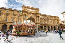 Carousel On Piazza Della Repubblica In Florence, Toscana Province, Italy.
