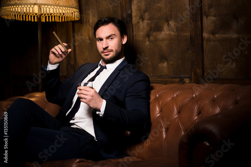 Wealth, Business Concept. Handsome Man In Business Suit
