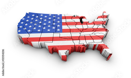 USA map with flag and shadow on white background. 3D rendering. Wallpaper Mural