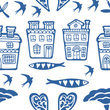 Seamless Pattern With Typical Portuguese Houses Sardines Flowers And Swallows