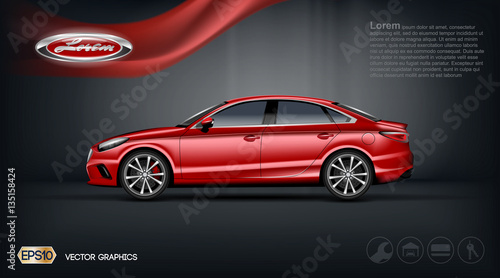 Digital Vector Red Model Sedan Car With 2 Seats And Black Windows