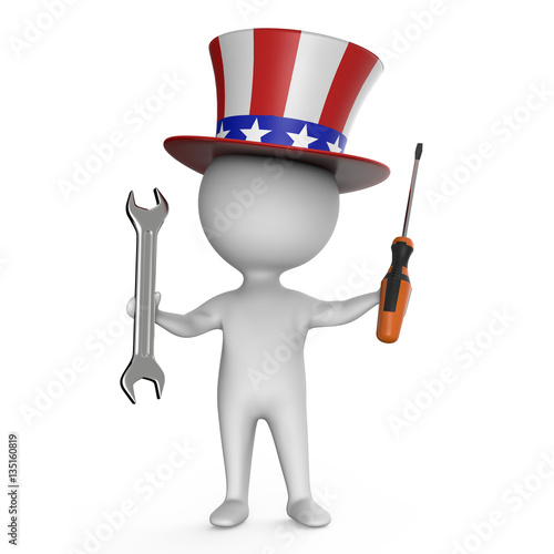 Photo  3d Cartoon Uncle Sam character holding a spanner and screwdriver