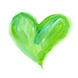 canvas print picture - Big bright green heart painted in watercolor on clean white background