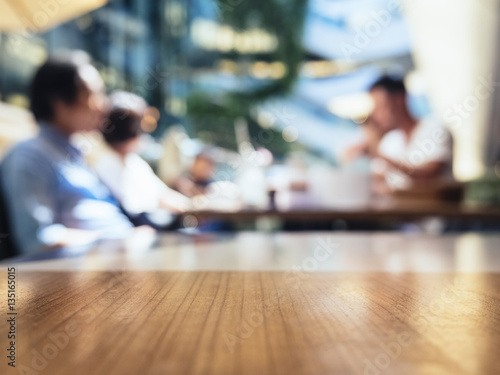 Fotografie, Obraz  Blurred people in Cafe Restaurant Table Top background