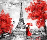 Fototapeta Fototapety Paryż - Oil Painting, Paris. european city landscape. France, Wallpaper, eiffel tower. Black, white and red, Modern art. Couple under an umbrella on street