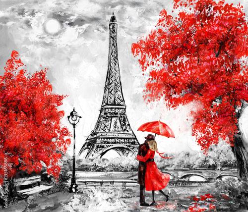 obraz-olejny-paryz-krajobraz-europejskiego-miasta-francja-tapeta-wieza-eiffla-czarny-bialy-i-czerwony-sztuka-wspolczesna-para