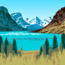 Illustration Of Glacier National Park