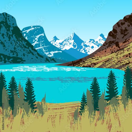 Valokuva  Illustration of Glacier National Park
