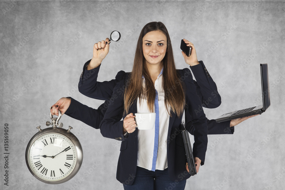 Fototapeta multi-purpose business woman with a large number of hands