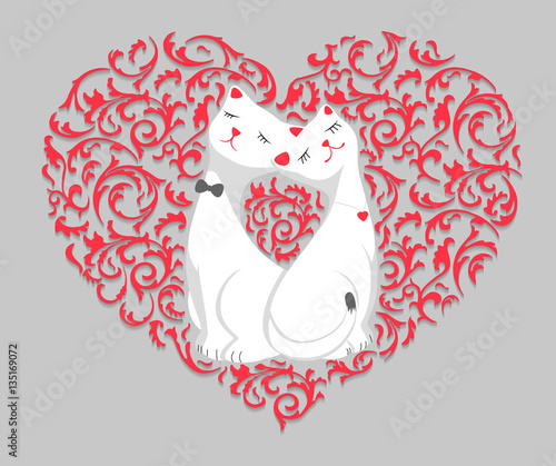 Two cute white lovers cartoon cat in pink floral pattern heart frame ...