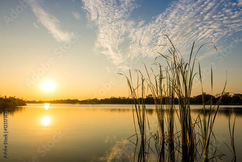 Poster Melon sunset on the lake landscape