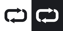 Vector Repeat Icon. Two-tone Version On Black And White Background