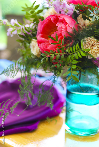 Garden Poster Pink Table setting in vintage style is decorated with flowers