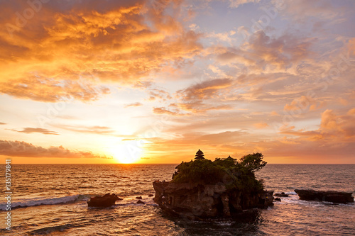 Garden Poster Temple Sunset at Tanah Lot temple. Bali island, Indonesia.