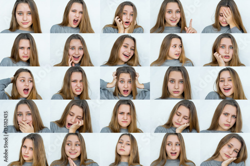Fotografie, Tablou  Set of emotions beautiful girl's portraits isolated
