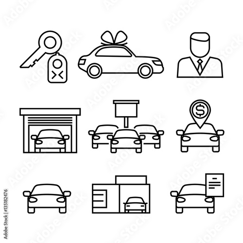 Dealerships That Buy Cars >> Car Dealerships Purchase And Sale Of Cars Line Vector Icons