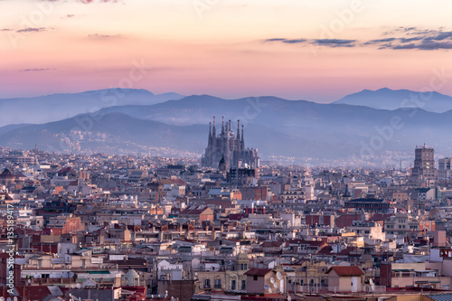 Sagrada Familia and panorama view of barcelona city,Spain Wallpaper Mural