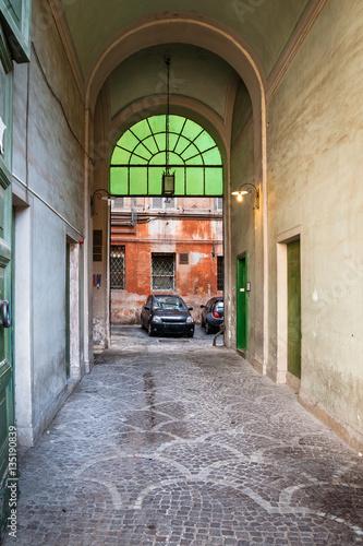 patio in urban house in Rome city in winter © vvoe