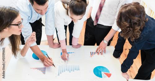 Plakat Konsultanci w banku analizują dane finansowe i omawiają wykresy