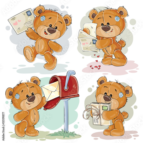 Set clip art illustrations of teddy bear gets and sends letters #135191877