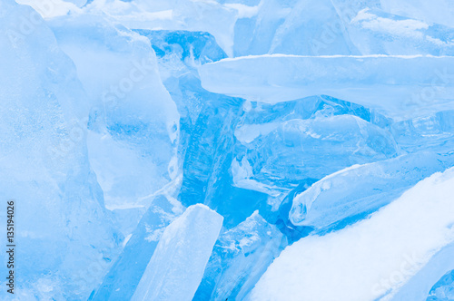 Fotobehang Midden Oosten Winter scene with frozen ice-pack ice float and other formations