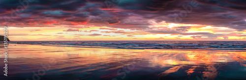Colorful panorama of sunset on the beach near Grundarfjordur tow