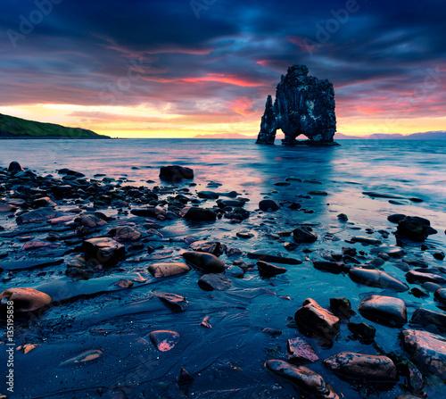 Acrylic Prints Huge basalt stack Hvtserkur on the eastern shore of the Vatnsnes