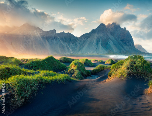 Wall Murals Northern Europe Black sand dunes on the Stokksnes headland
