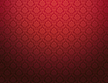 Red Damask Pattern Background