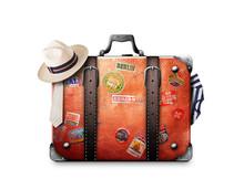 Retro Suitcase Of A Traveler W...