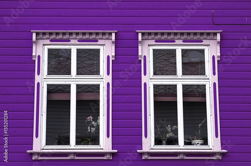 purple  house two white windows - 135201284