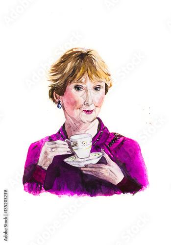 Mrs. Hudson, a character, Sherlock, watercolor Canvas Print