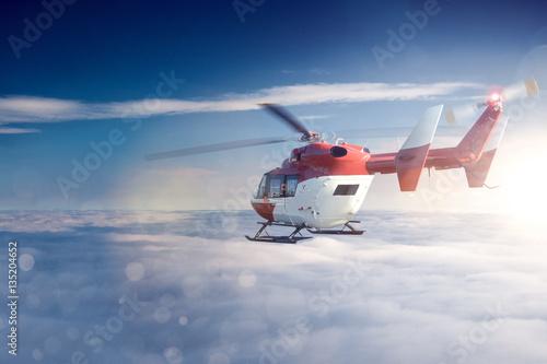 Poster Helicopter Hubschrauber über den Wolken