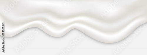 Fotografia White cream flowing vector illustration