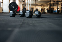 Dumbbells On The Floor In Gym