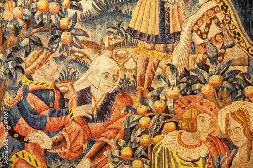 Fotografie, Obraz Détails dans une tapisserie ancienne