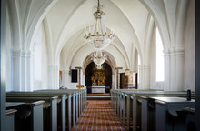 Inside A White Church In The Countryside