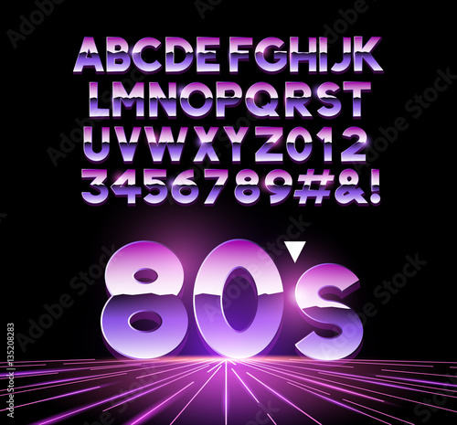 Photo  retro Airbushed style 1980's shiny Letters with a futuristic look from the decade