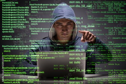 Fotografía  Young hacker in data security concept